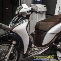 Tem xe Honda SH Mode - Tem xe thiết kế Sport trắng đen