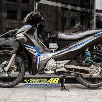 Tem xe Yamaha Sirius - 264 - Tem xe thiết kế Kỉ niệm nhôm xước xám đen
