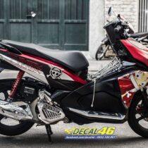 Tem xe Airblade 16 Honda - 096 - Tem xe thiết kế Onepiece nhôm xước đỏ đen