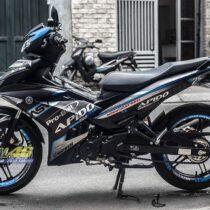 Tem xe Exciter 150 2019 - Tem xe thiết kế Apido nhôm xanh đen