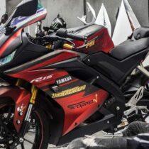 Tem xe Yamaha - Tem xe R15 Underground nhôm xước đen đỏ