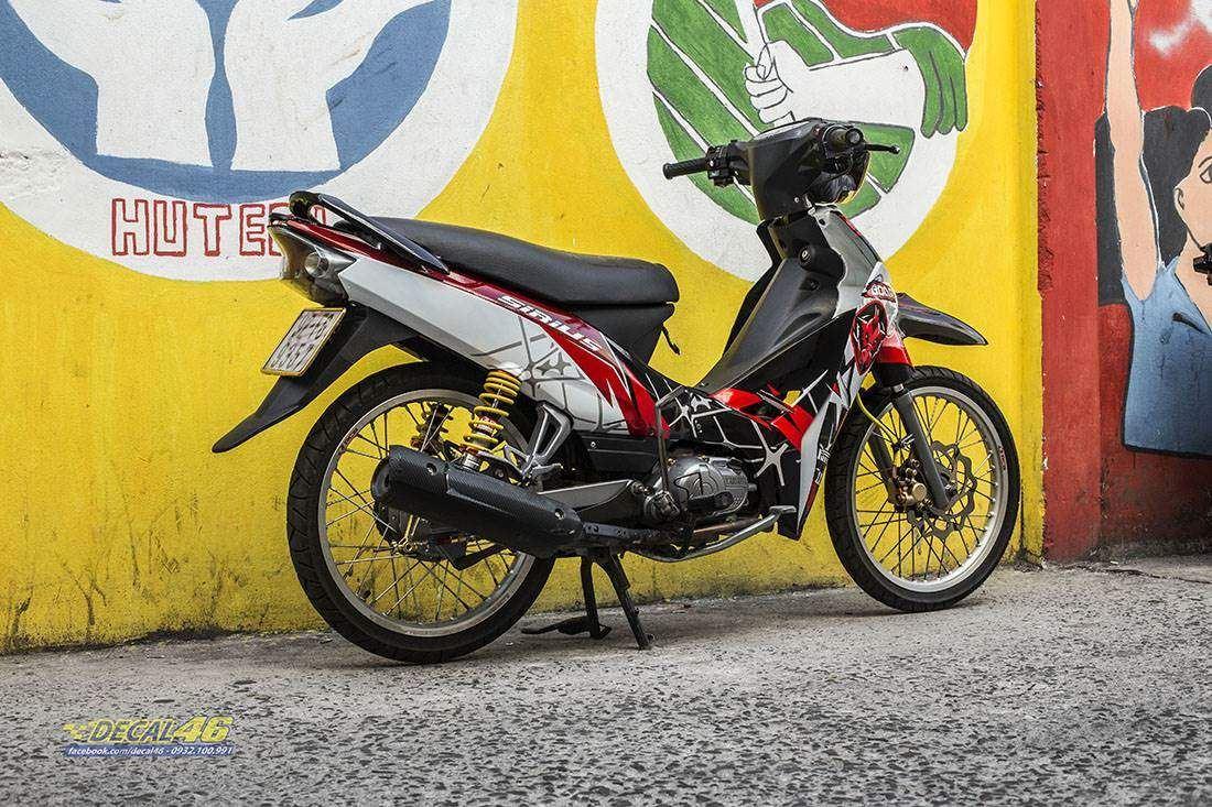 Tem xe Yamaha Sirius - 270 - Tem xe thiết kế Heo rừng trắng đỏ