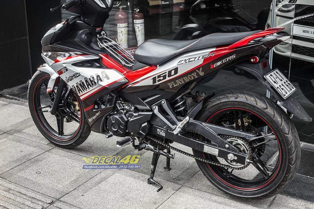Tem xe Exciter 150 2019 - 571 - Tem xe thiết kế Yamaha candy trắng đỏ đen