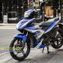 Tem xe Exciter 150 - 576 - Tem xe thiết kế Ducati nhôm xanh bạc