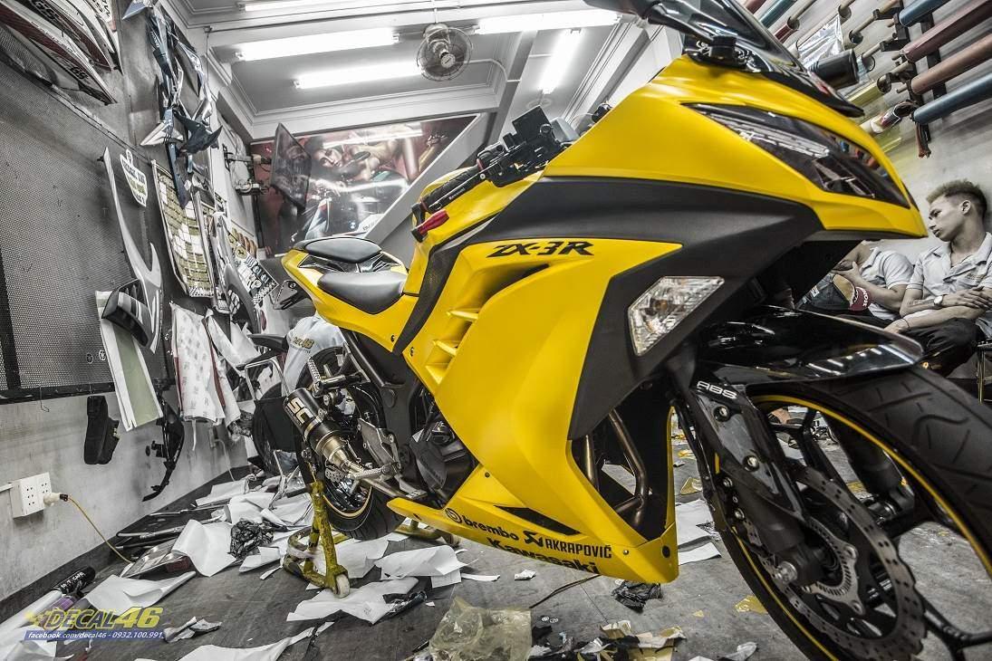 Tem xe PKL - Tem xe Ninja 300 thiết kế vàng Satin