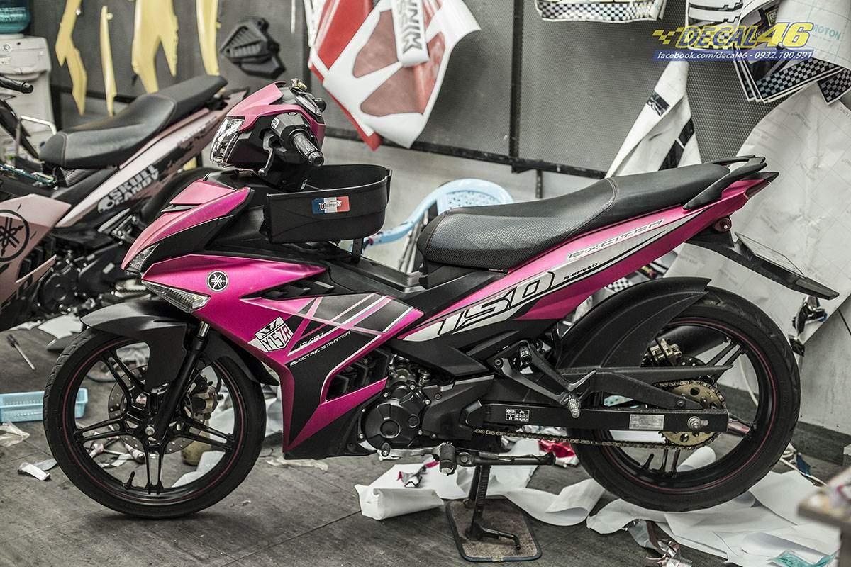 Tem xe Exciter 150 - thiết kế Y15ZR hồng nhôm xước