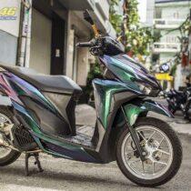 Sơn xe máy - Vario 2018 sơn chuyển sắc 3 góc nhìn xanh lục bảo