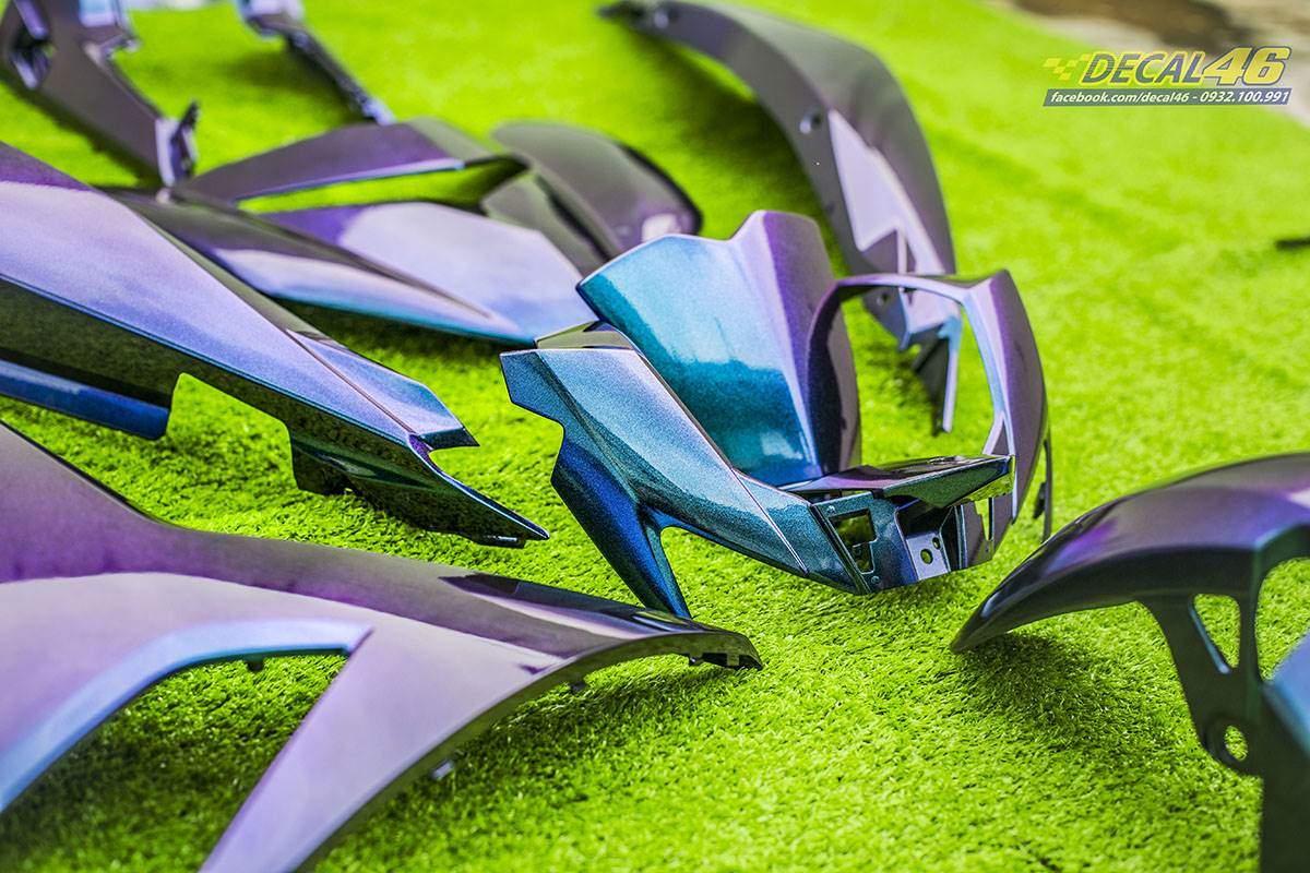 Sơn xe máy - Exciter dàn áo Titanium xanh tím