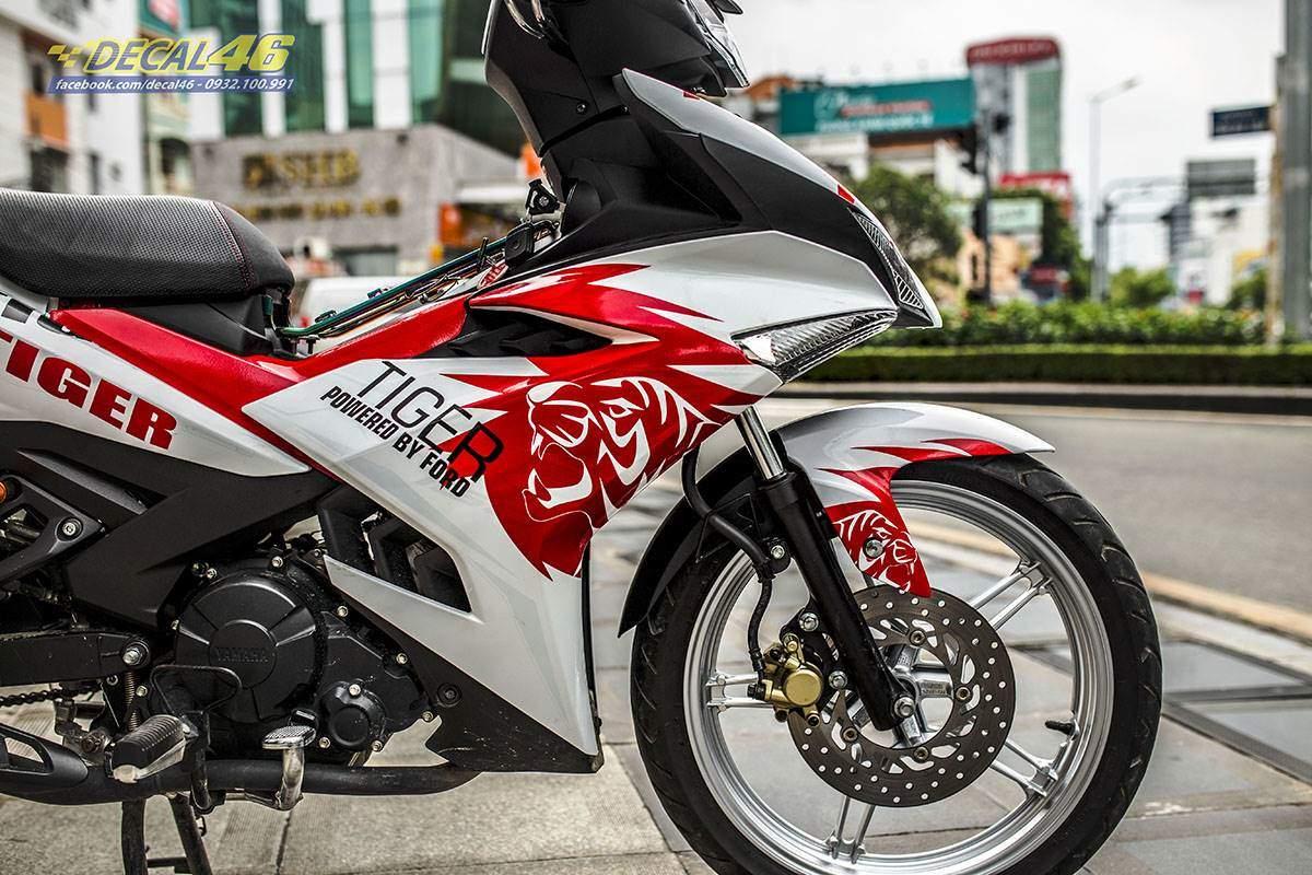 Tem xe Exciter 150 2019 - thiết kế Tiger trắng đỏ