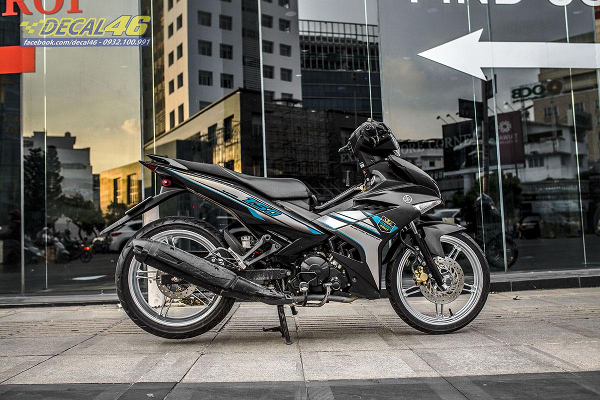 Tem xe Exciter 150 - thiết kế Y15ZR xám đen nhôm
