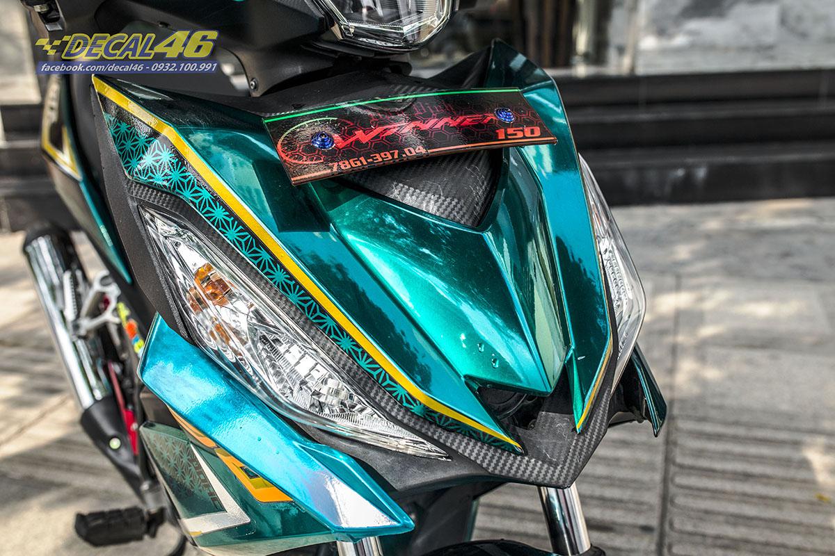 Tem xe Winner 150 - 514 - thiết kế Chấm bi xanh ngọc chrome