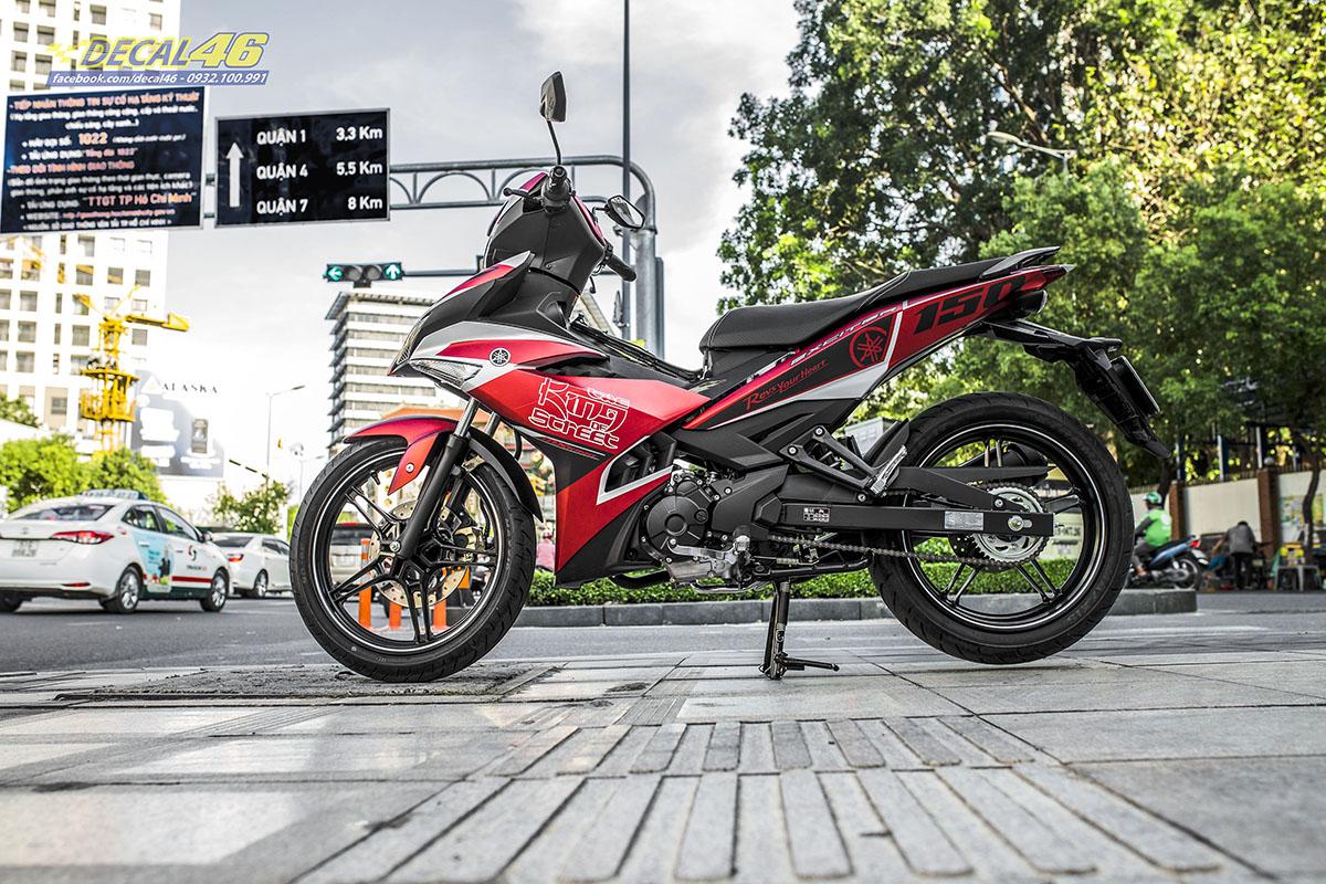 Tem xe Exciter 150 2019 - 064 - thiết kế King of Street đỏ đen nhôm