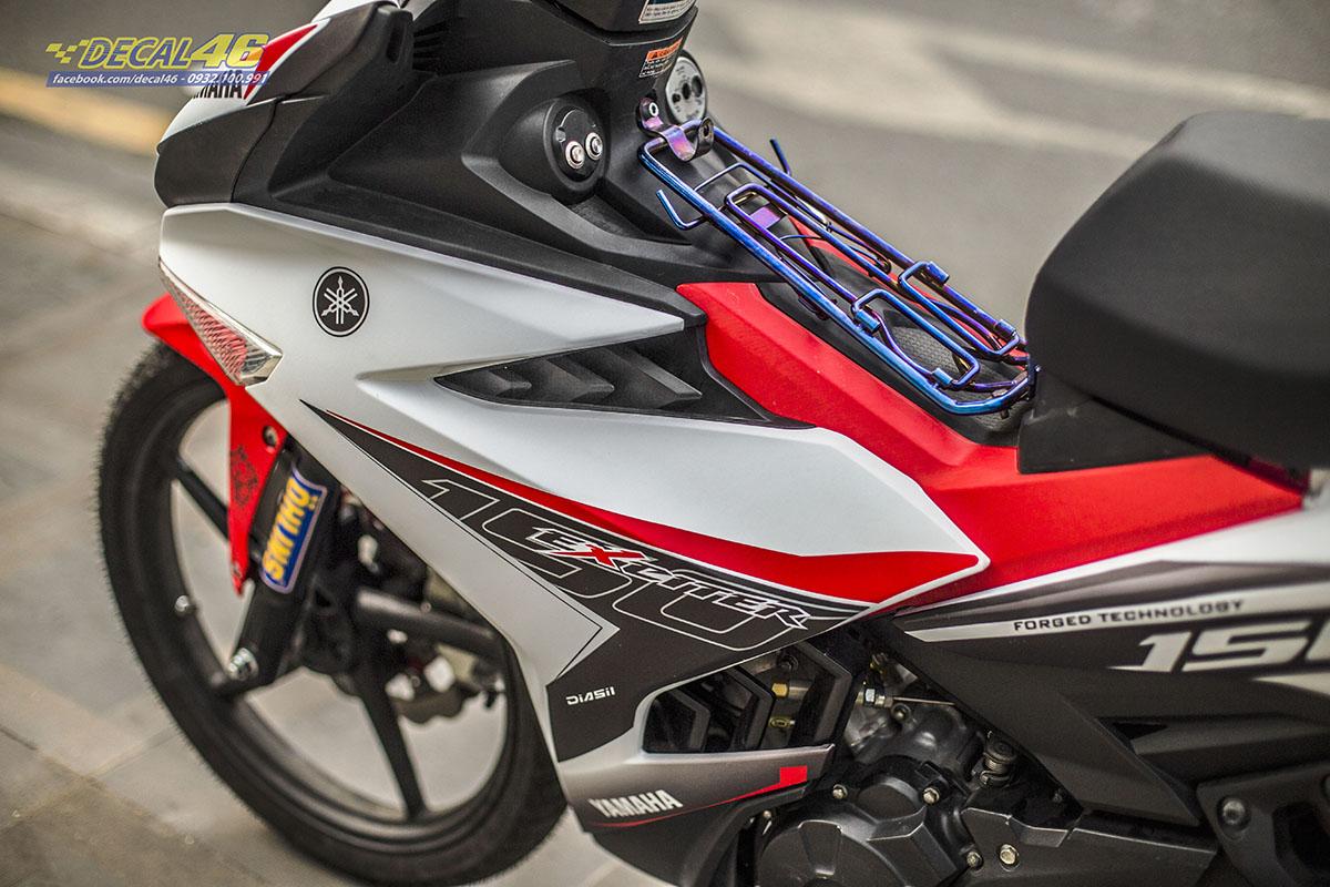 Tem xe Exciter 150 - 647 - thiết kế MX new trắng đỏ xước