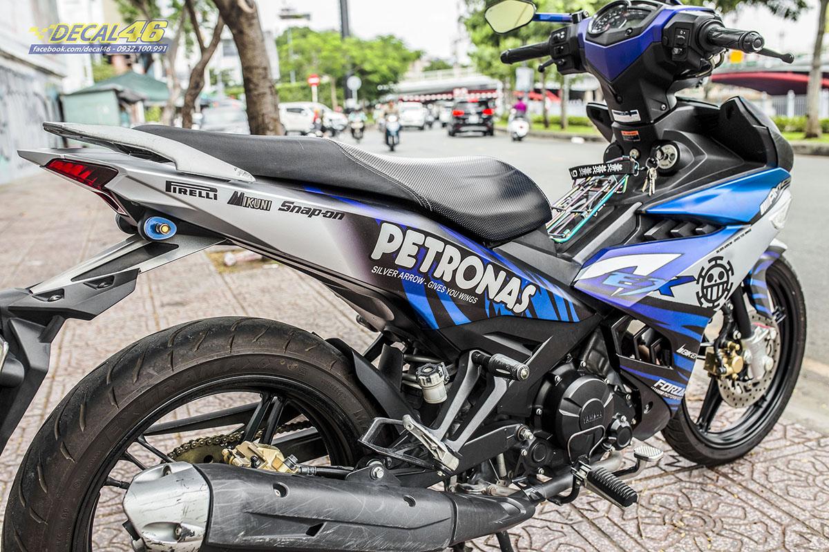 Tem xe Exciter 150 - thiết kế Petronas new candy xanh bạc