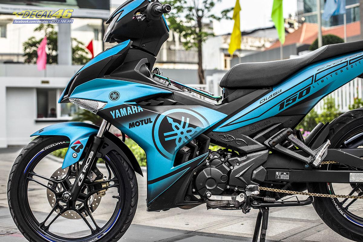 Tem xe Exciter 150 2019 - 077 - thiết kế Yamaha nhôm xước xanh đen