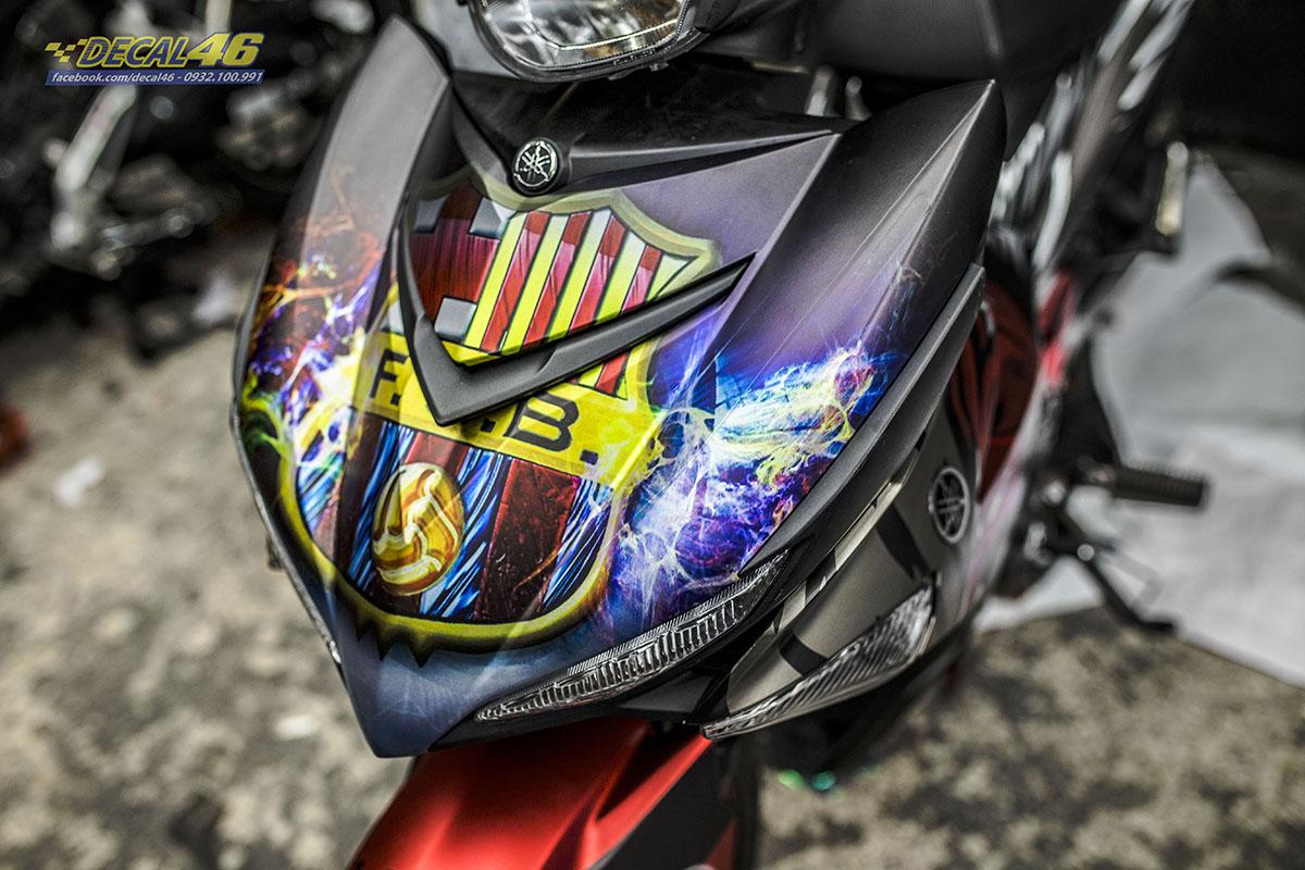 Tem xe Exciter 150 - thiết kế Messi nhôm đen đỏ