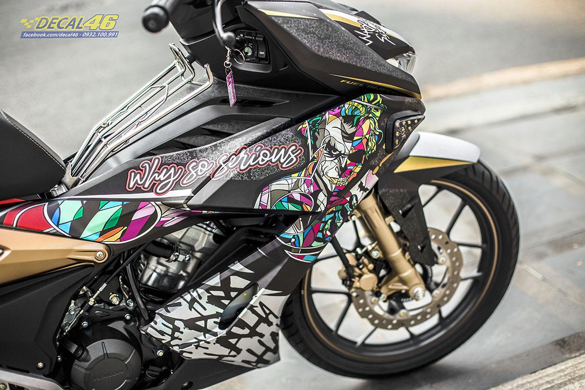 Tem xe Winner X - 056 - thiết kế Joker nhôm đen bạc vàng nhôm