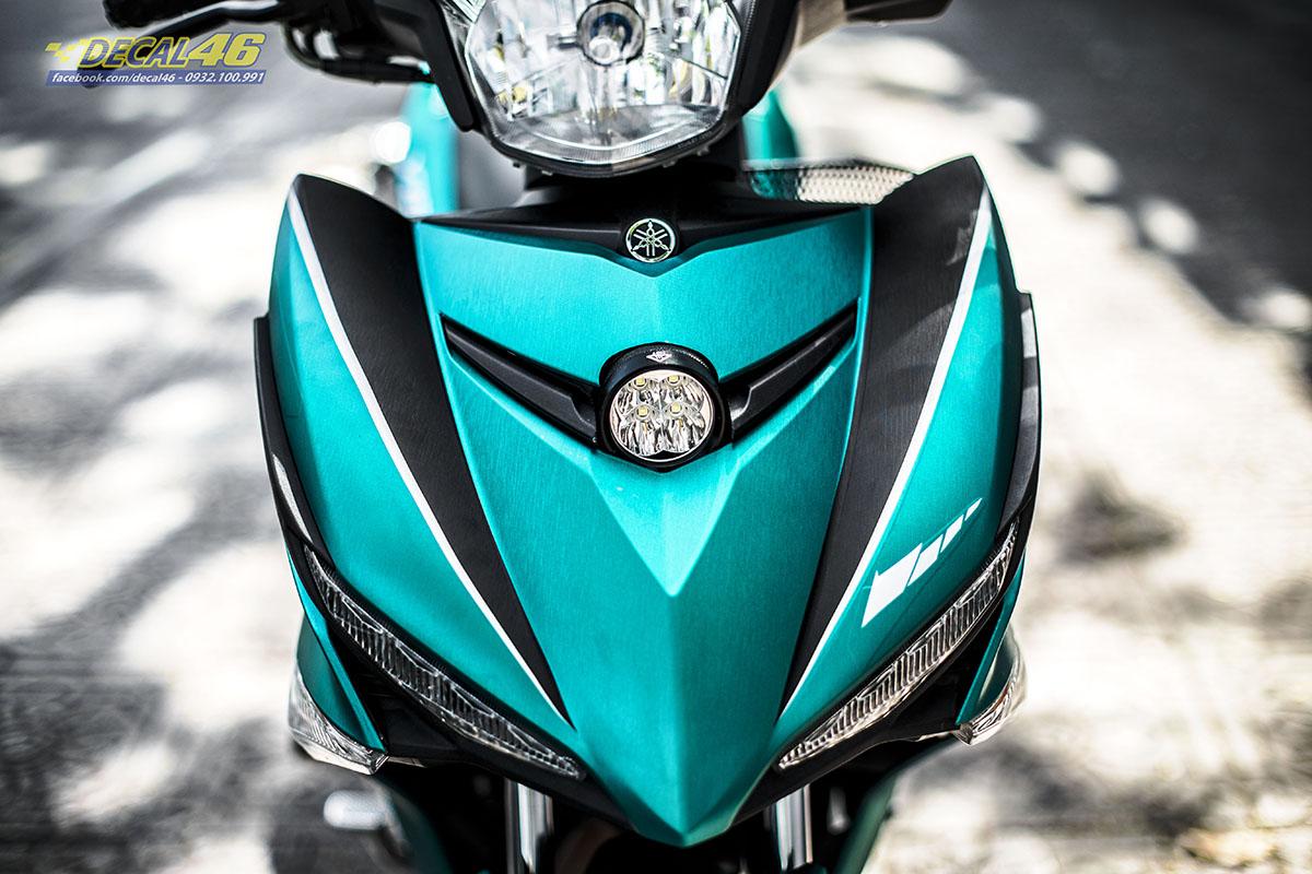 Tem xe Exciter 150 - 666 - thiết kế Movistar xanh ngọc bích nhôm xước