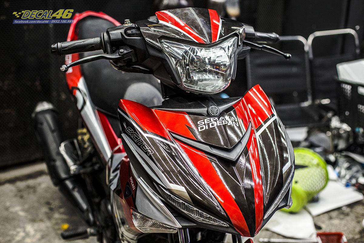 Tem xe Exciter 150 - 671 - thiết kế Yamaha Brembo trắng đỏ đen candy