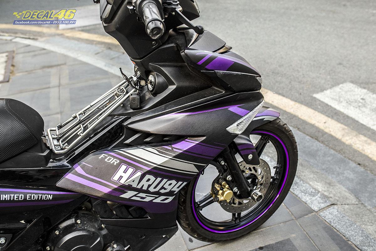 Tem xe Exciter 150 2019 - 085 - thiết kế Harusu đen tím nhôm xước