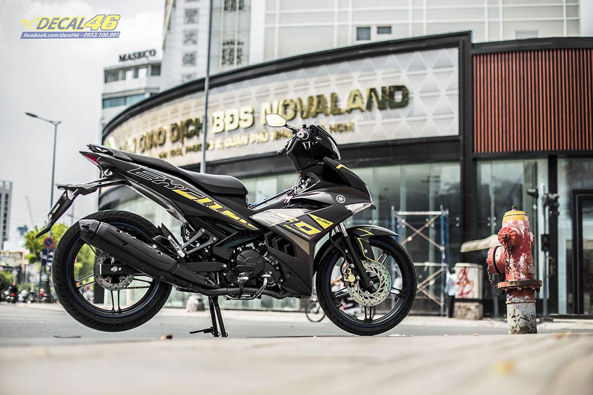 Tem xe Exciter 150 2019 - 090 - thiết kế Zin đen vàng nhôm xước