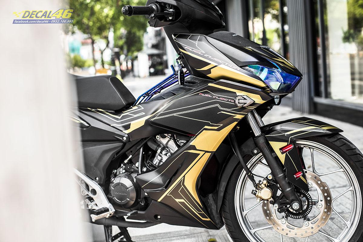 Tem xe Winner X - 073 - thiết kế Robot đen vàng nhôm