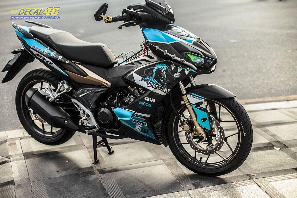 Tem xe Winner X - 079 - thiết kế Sparta xanh đen nhôm