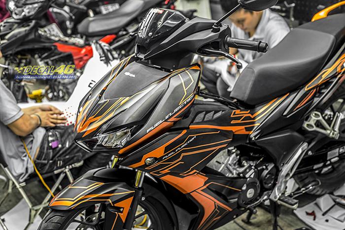 Tem xe Winner X - 081 - thiết kế Electric đen cam nhôm