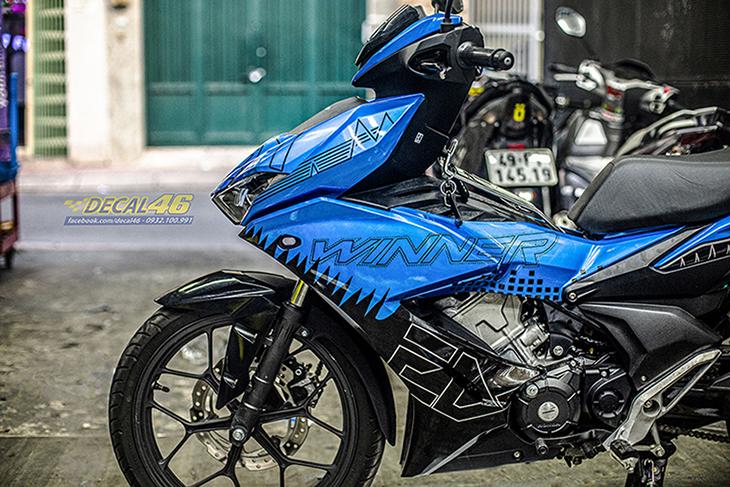 Tem xe Winner X - 086 - thiết kế EDM xanh đen candy