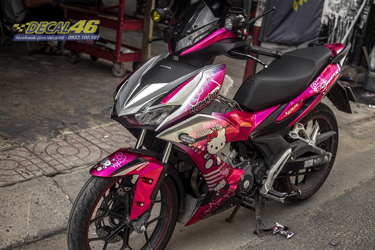 Tem xe Winner X - 090 - thiết kế Hello Kitty hồng candy