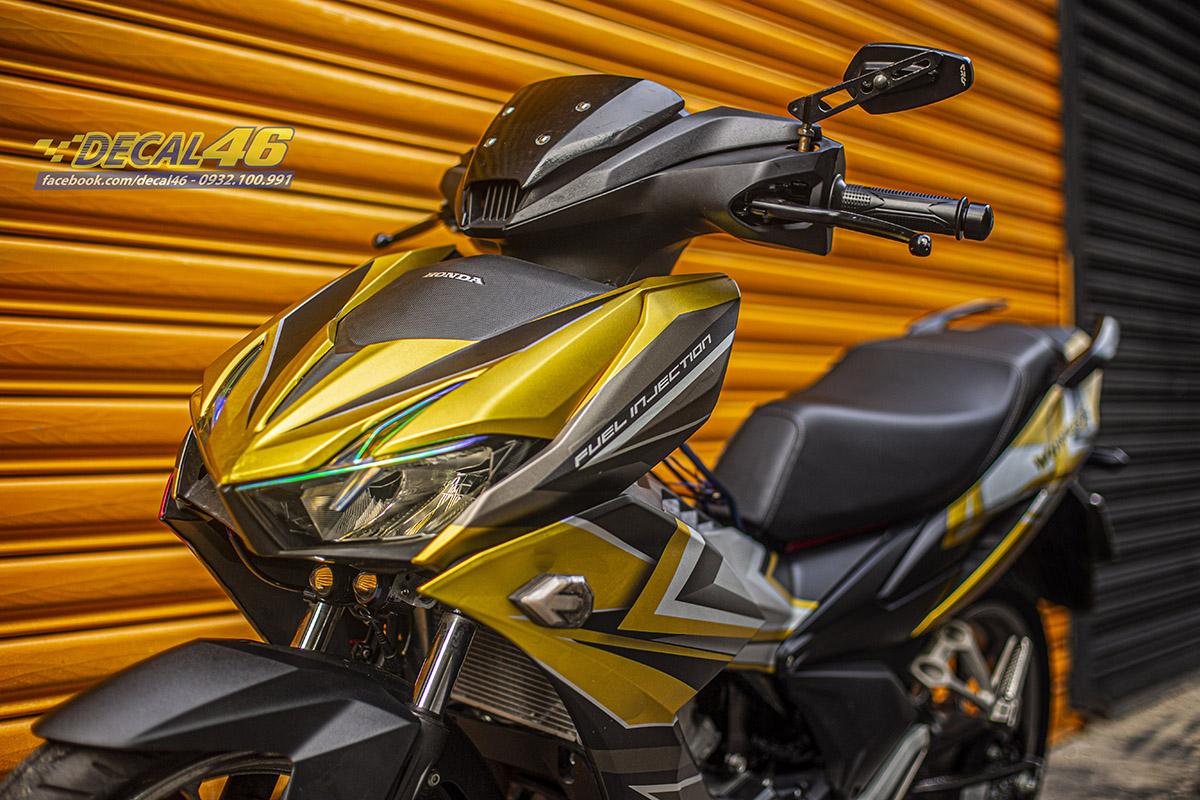 Tem xe Winner X - 091 - thiết kế Slider đen bạc vàng đồng nhôm