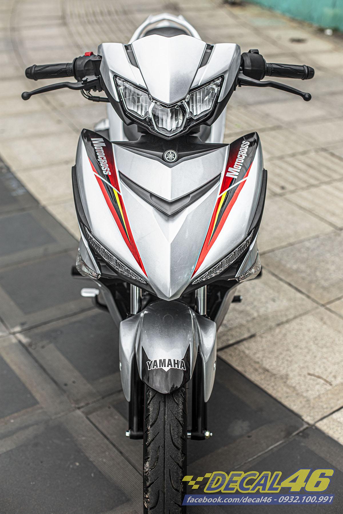 Tem xe Exciter 150 2019 - 096 - thiết kế Motocross candy trắng đỏ