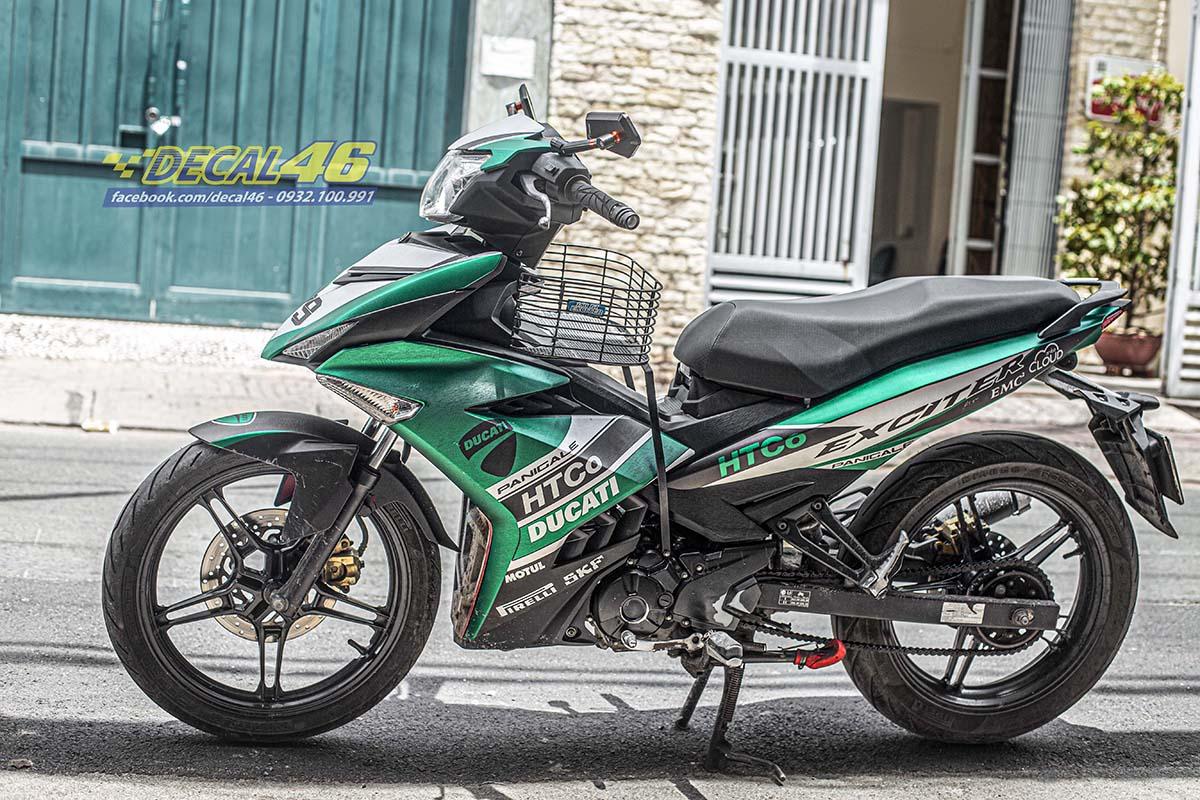 Tem xe Exciter 150 - 680 - thiết kế Ducati xanh lá bạc nhôm xước