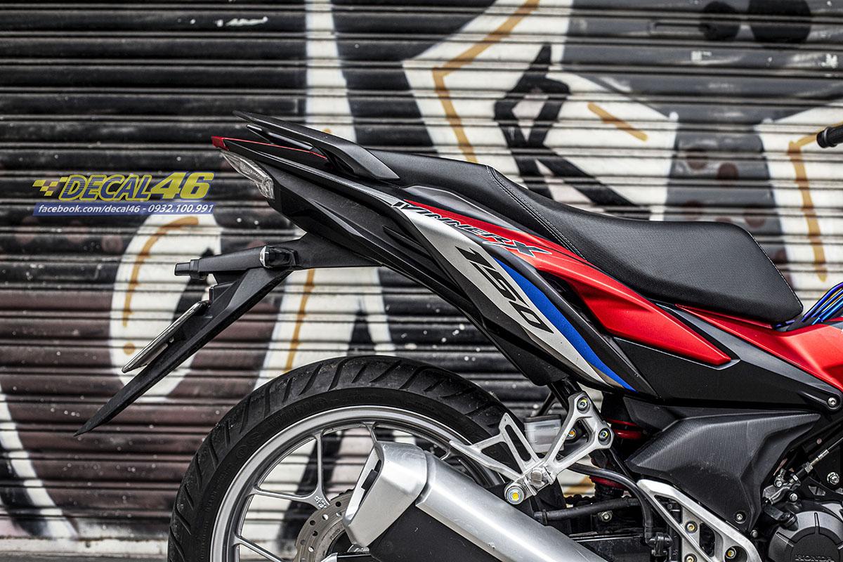 Tem xe Winner X - 095 - thiết kế Honda đỏ xanh trắng đen nhôm