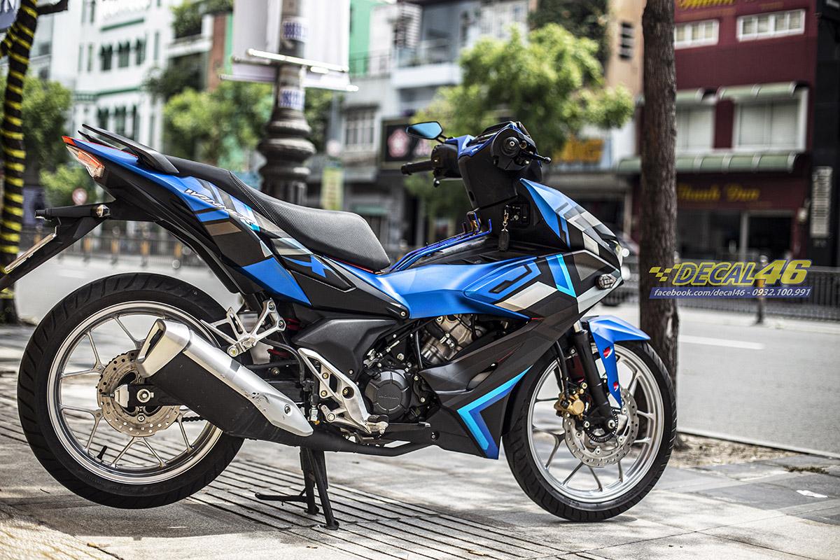 Tem xe Winner X - 097 - thiết kế XXX xanh đen nhôm