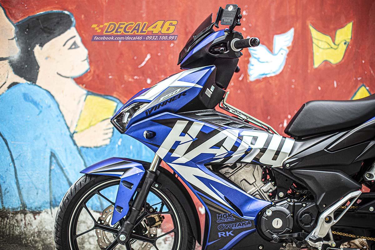 Tem xe Winner X - 099 - thiết kế Haru xanh bạc đen nhôm