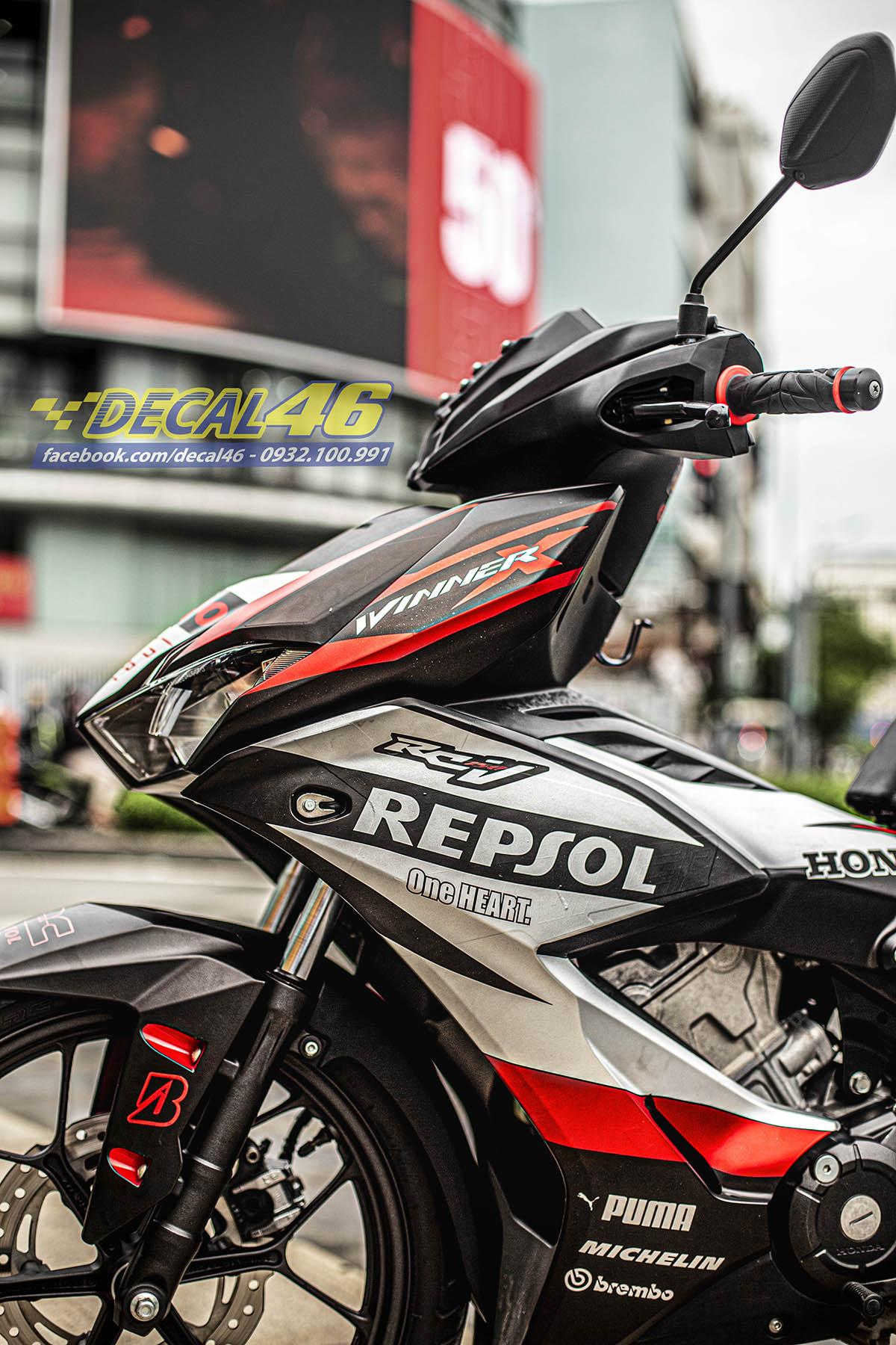 Tem xe Winner X - 100 - thiết kế Repsol bạc đỏ đen nhôm